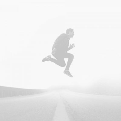 alex rosier jumping over road in fog